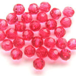 Ronde facetkraal, roze, 12mm, 100 st