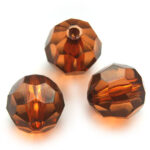 Grote ronde acryl facetkraal, 28mm, Bruin, 10 st