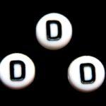 Letterkraal, D, plat rond, acryl, 7x4mm, Wit/Zwart, 100 st