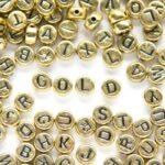 Letterkraal, Mix, Letters, Plat rond, Acryl, Goud/Zwart, 7x4mm, 100 st