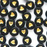 Letterkraal, Hartjes, Plat rond, Acryl, Zwart/Goud, 7x4mm, 50 st