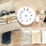 DIY startpakket armbandjes (4mm kraal), Zwart, goud, zilver, wit