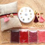 DIY startpakket armbandjes (2mm kraal), Goud, bruin, rood, zalm