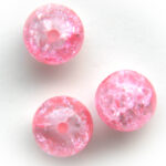 Ronde cracklekraal, 10mm, Roze, 100 st