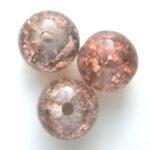 Ronde cracklekraal, 10mm, Bruin, 100 st