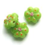 Bloemvormige kraal, 16x20mm, Groen, 5 st