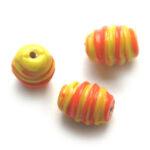 Ovalen kraal, Allegria, 12x9mm, Oranje / geel, 25 st