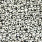 Rocailles van electroplated glas, 4×2,5mm, Zilver, 25 gr