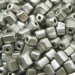 Rocailles van glas, cube, metallic, 3-7mm, Mat zilver, 25 gr
