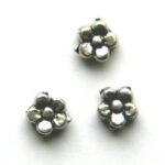 Bloemvormige metalen kraal, 5mm, 50 st