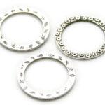 Ronde metalen ring, bewerkt, 2-zijdig, 25 st