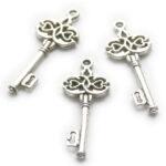 Sleutel, metalen hanger/bedel, 45x17mm, Zilver, 10 st