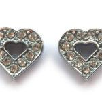 Hart met strass metalen schuiver voor 10mm armband, 15mm, 2 st