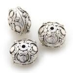 Mooie bewerkte metalen rondelle kraal, 16mm, 10 st