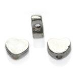 Hartvormig kraaltje, 6x5mm, Zilver, 50 st