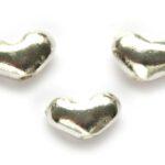 Hartvormige bolle kraal, 11x7mm, Metaal, 15 st
