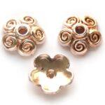Kralenkapje, bloem, 10mm, Rose Gold, 15 st
