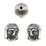 Buddha, metalen kraal, 11x9mm, Antiek Zilver, 10 st