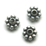 Tussenring, bloem, metal look, 9mm, 10 gr