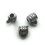 Buisvormige bewerkte metal look kraal, oog, 12x14mm, 25 gr