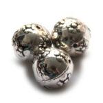Ronde metal coated kraal, bloemen, 16mm, 10 st