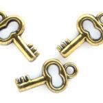 Sleutel, metal look hanger, 15x10mm, Brons, 100 st