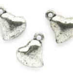 Hartvormig hangertje, metal look, 12x15mm, Zilver, 50 st