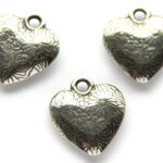 Hart met bloemetjes, metal coated hanger, 23x21mm, 10 st