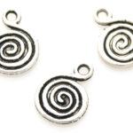 Spiral, ronde metal coated hanger, 13mm, Zilver, 100 st