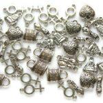 Bedelmix, metal look, Symbols, Zilver/Metaal, 50 st