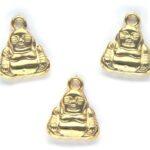 Buddha, metal look bedel/hanger, 20x17mm, Goud, 15 st