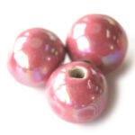 Ronde keramieken megaglans kraal, 24mm, Roze, 10 st