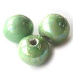 Ronde keramieken megaglans kraal, 24mm, Groen, 10 st