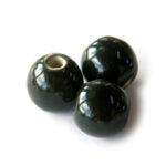Ronde keramieken megaglans kraal, 20mm, Zwart, 10 st