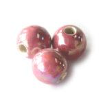 Ronde keramieken megaglans kraal, 20mm, Roze, 10 st