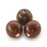 Ronde keramieken glans kraal, 20mm, bruin, 10 st