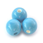Ronde keramieken glans kraal, 20mm, turquoise, 10 st