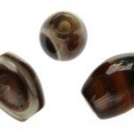 Ovalen bruin/zwarte agaat DQ kraal, 15x11mm, 10 st