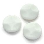 Ronde plat golvende porceleinen kraal, 25mm, Wit, 5 st