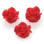 Roosje, kraal van kunsthars, 14mm, Rood, 10 st