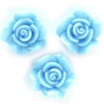 Roosje, kraal van kunsthars, 14mm, Lichtblauw, 10 st