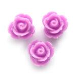 Roosje, kraal van kunsthars,  7mm, Lila, 20 st