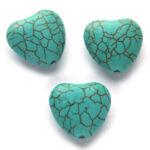 Hartvormige kraal, gladde steen, 18mm, Turquoise, 10 st