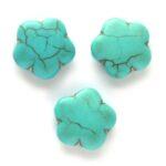 Bloemvormige kraal, Keramiek Turquoise, 14mm, Turquoise, 10 st