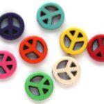 Kralenmix, Peace, Keramiek Turquoise, 15mm, Multi Colour, 20 st