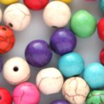 Kralenmix, Ronde kraal, Keramiek Turquoise,  8mm, Multi Colour,