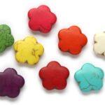 Kralenmix, Bloem, Keramiek Turquoise, 25mm, Multi Colour, 5 st