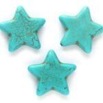 Stervormige kraal, Keramiek Turquoise, 25x6mm, Turquoise, 5 st