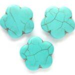 Bloemvormige kraal, Keramiek Turquoise, 30×3,5mm, Turquoise, 4 s