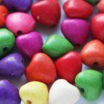 Kralenmix, Hart, Keramiek Turquoise,  8mm, Multi Colour, 25 st